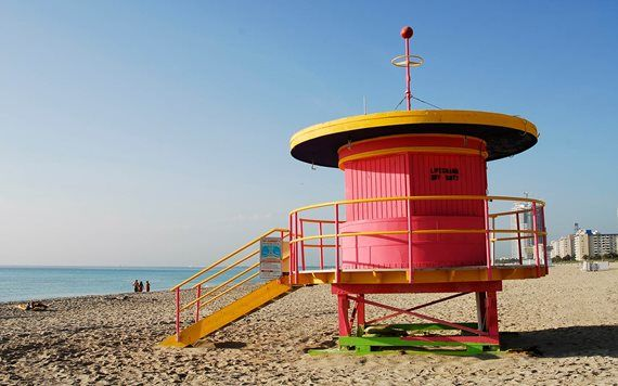 Side view of lifeguard stand