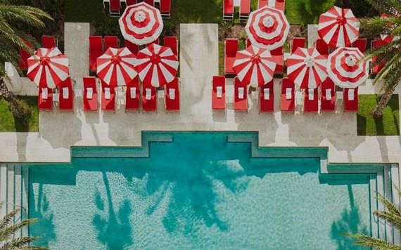 Aerial view of Faena pool