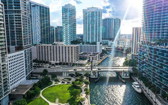 Aerial view of Miami Circle in Downtown Miami