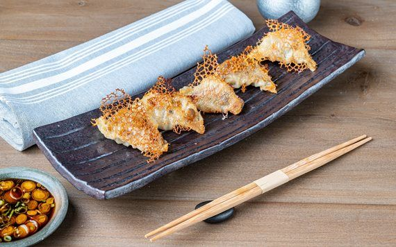 Paperfish's gyoza with its crispy topping