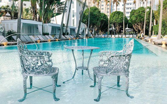 Chairs in pool at the Delano