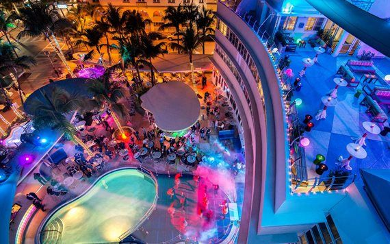 Clevelander Hotel poolscape at night