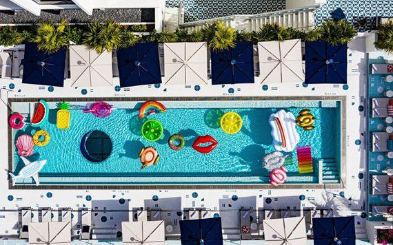 Moxy Hotel pool with floats