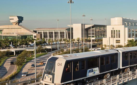 metromover with Miami International Airport in background