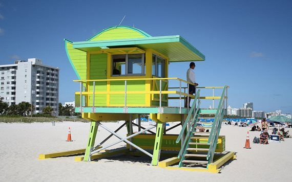 One of David Lane's lifeguard stands