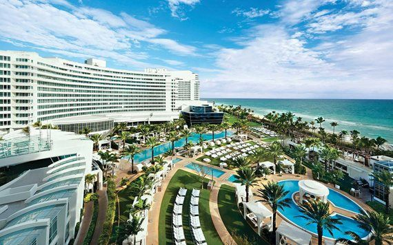 Aerial view of Fontainebleau Miami Beach Hotel